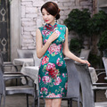 Nova Chegada Senhoras Verdadeira Seda Cheongsam Chinês Mandarim Collar Mini qipao elegante floral vintage dress s m l xl xxl F092902