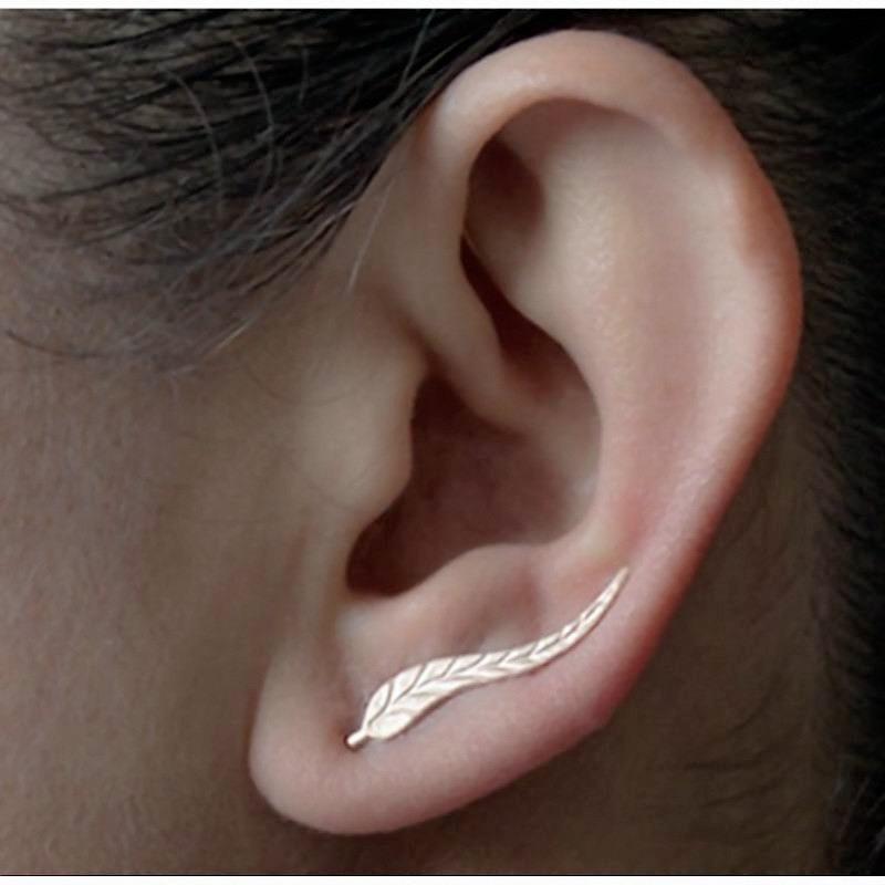 Fashion Girls Leaf Stud Earrings For Women Simple Leaves Ear Cuff Earrings 2020 Fashion Minimalism Jewelry