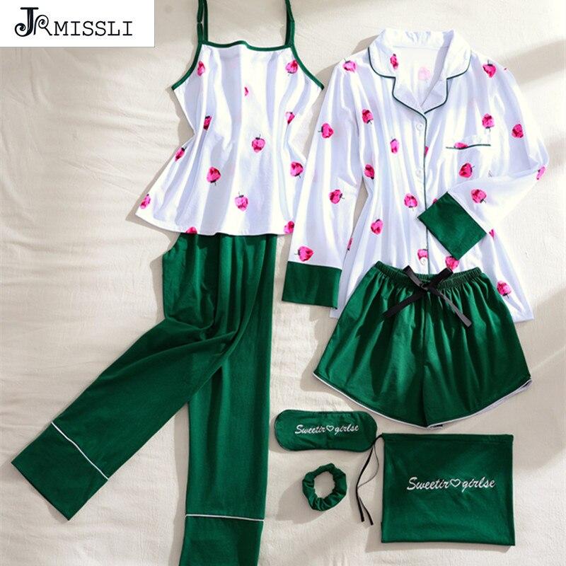 JRMISSLI Autumn 2018 New 7 Pcs Sleepwear Autumn Winter Pyjamas Women   Pajamas     Set   Pijama 100% Cotton Sleep Clothing Home Clothes
