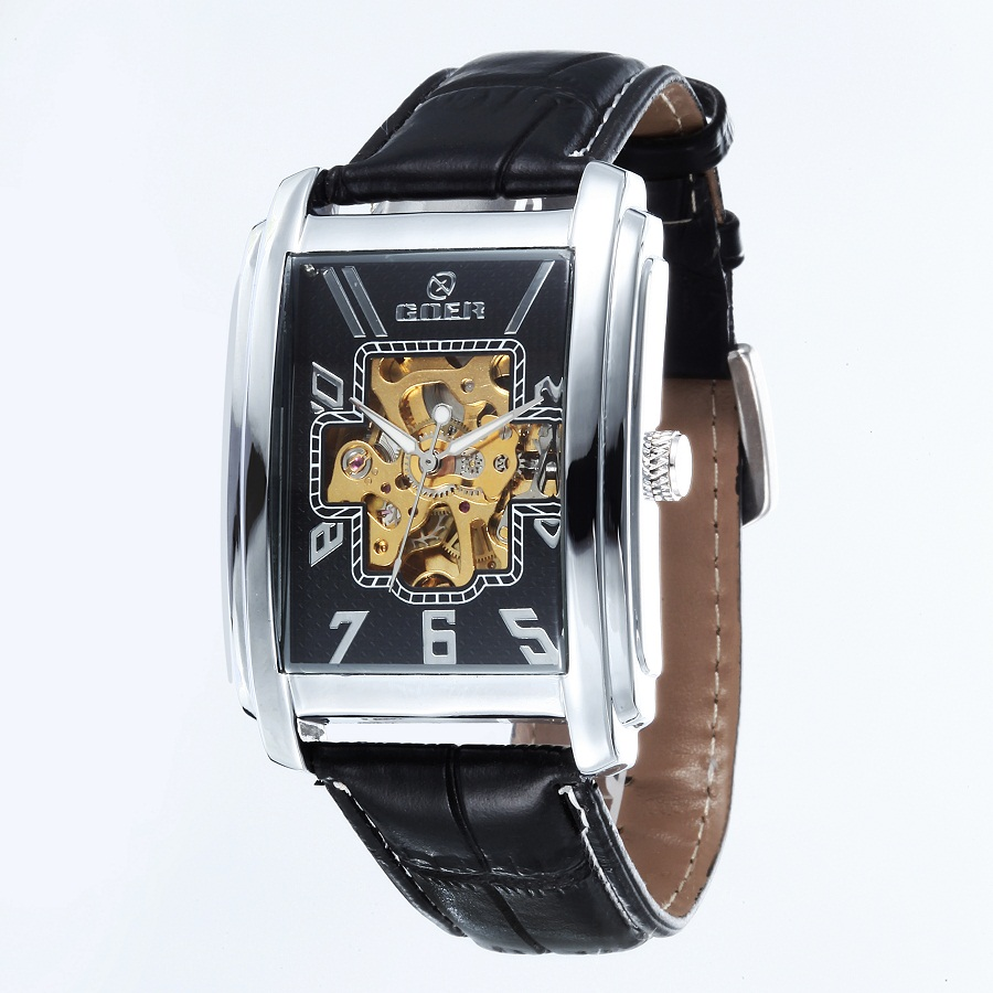 GOER brand Skeleton man automatic watch Men s wrist square watch Leather mechanical waterproof Luminous digital