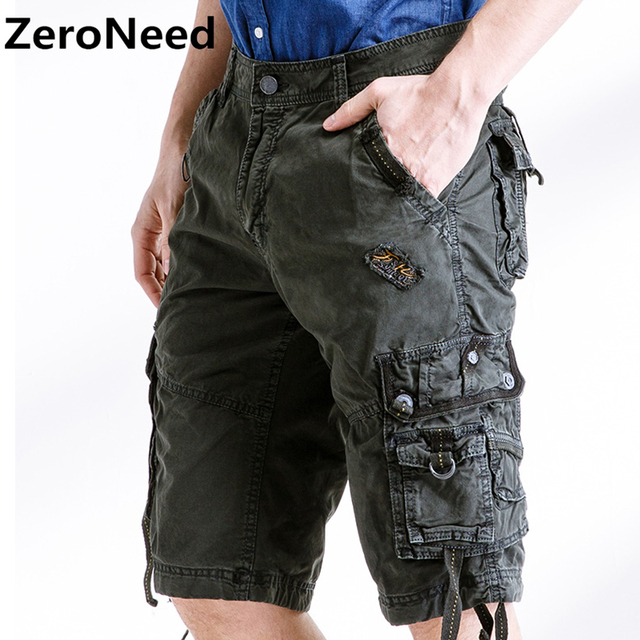 e5585fa5cb7fe Armée Camouflage Cargo Shorts travail Bermuda nombreuses poches marque  vêtements Baggy Shorts militaire 100% coton