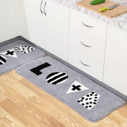 Tapis de cuisine tapis épais tapis de toilette absorbants maison mignon avec des lettres tapis en peluche
