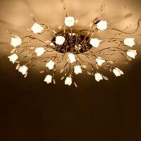 Европейский Гостиная кристалл потолочный светильник контракт сладкий Ресторан Спальня люстра LED Дистанционное управление цветок дом ламп