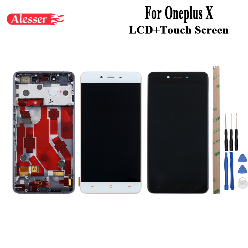 Alesser For Oneplus X LCD Display and Touch Screen With Frame Assembly Repair Parts +Tool +Adhesive 5.0 For Oneplus X E1003 LCD