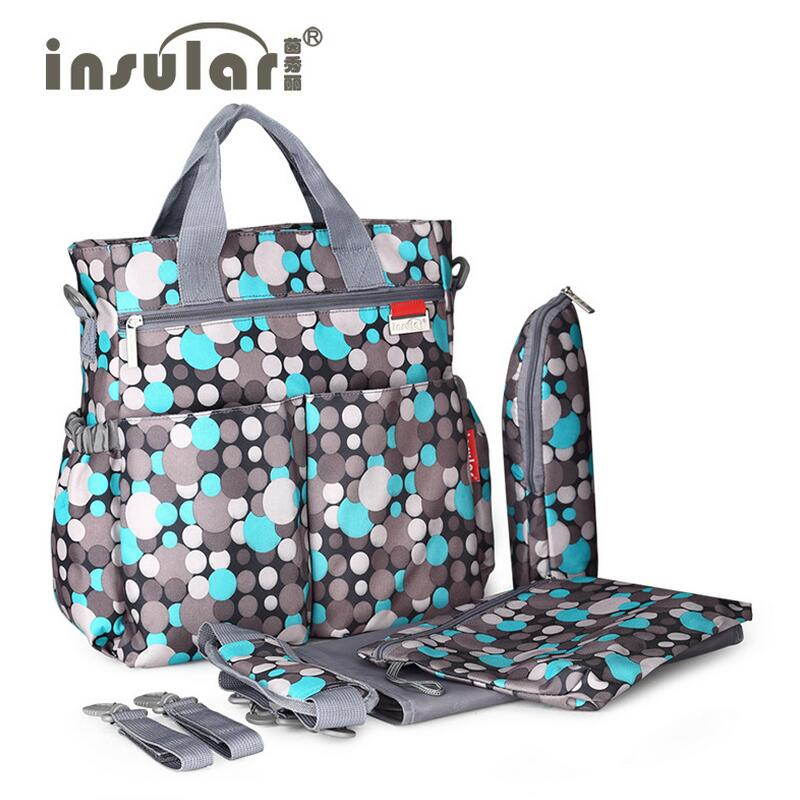 ФОТО Insular Baby  Diaper Bags 5PCS/Set Fashion Multifunctional  Print Tote  Durable Nappy Bag Mummy Baby  Bag for mom Stroller Belt