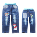 patch winter jeans boy jeans double-deck denim and fleece NAVY BLUE CASUAL pants trousers boys child warm new 2016