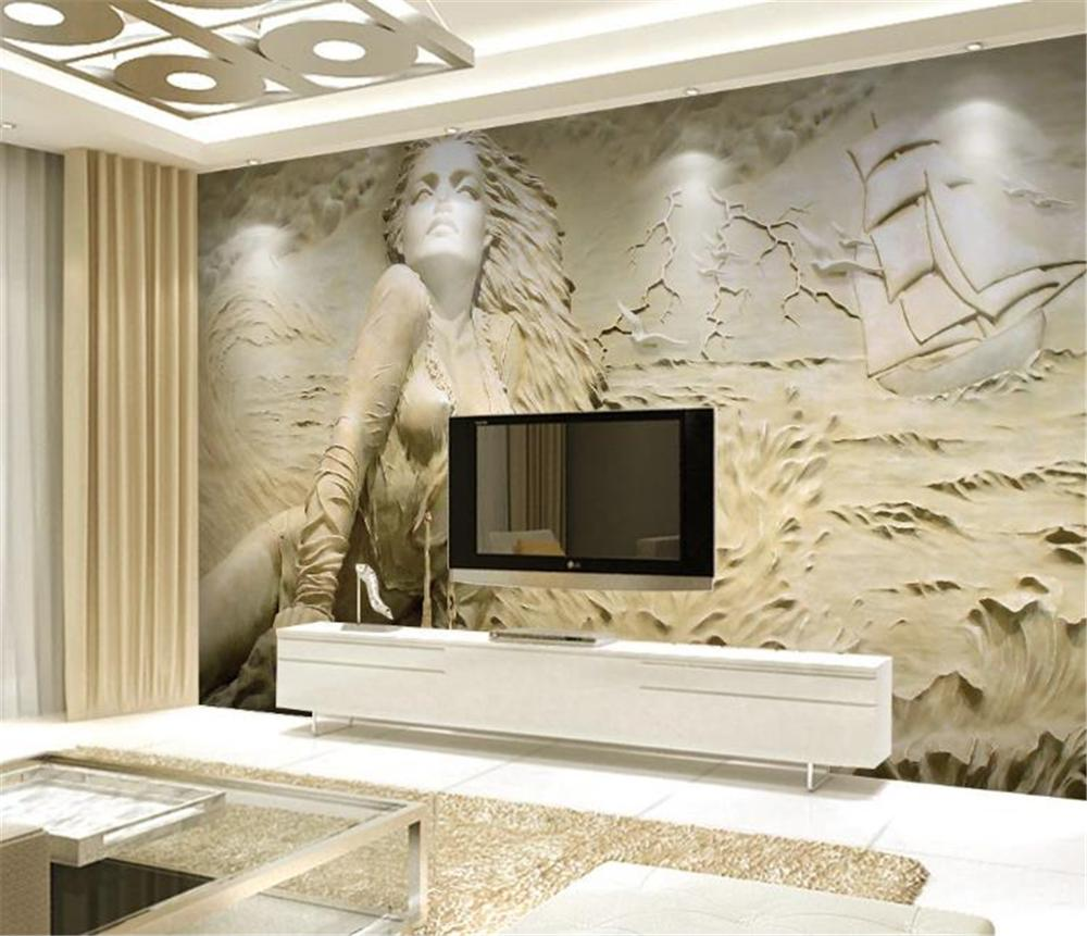 Custom Mural <font><b>3d</b></font> Wallpaper European gold <font><b>3D</b></font> embossed seaside <font><b>sexy</b></font> beauty background <font><b>wall</b></font> painting beautiful <font><b>wall</b></font> <font><b>paper</b></font> image