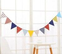 1セットパーティーホオジロバナー紙ペナントフラグ航海女の子男の子誕生日紺赤アンカー赤ちゃん保育園の装飾花輪