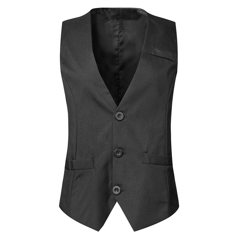 Thorndike Wedding Vest  Solid Black Color Pure Color Vest With V Style Lapel White Black Classic Style Cheap Vest(China)