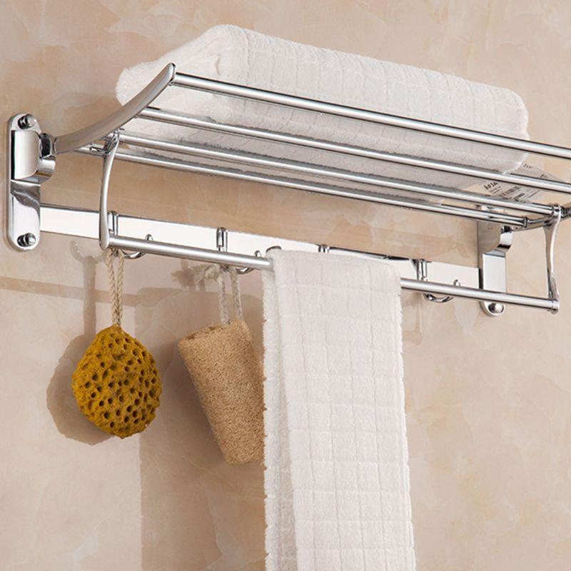 Wall Mounted Towel Rack 4 Hooks Hanger Bar Shelf Rail Holder Storage Bathroom Hotel Stainless Steel JAN-17