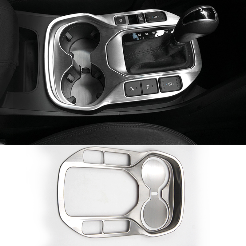 Car Styling Interior Stainless Steel Gear Box Cup Holder Protection Cover For HYUNDAI Grand Santa Fe IX45 2014 2015 Accessories