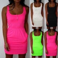 Plus size Candy color 5xl big size womens summer Dress Casual square collar Sleeveless beach dress waist elastic Mini dress