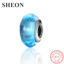 SHEON Sparkling 925 Sterling Silver Multicolor Murano Glass Beads Fit Pandora Charm Bracelet Women DIY Sterling Silver Jewelry mistletoe jewelry 925 sterling silver large hole light blue 3d flowers murano glass charm bead fit european bracelet