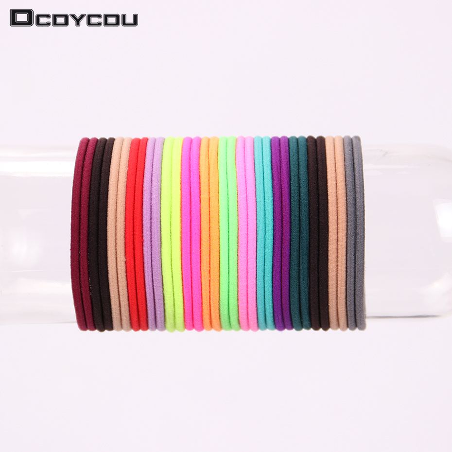 50PCS Girls Elastic Hair Bands Ponytail Holder Rubber Bands Hair Accessories Women Multicolor Tie Gum m mism 2pcs new rhinestone bead hair elastic band hair accessories rubber tie gum ponytail holder scrunchy for women girls