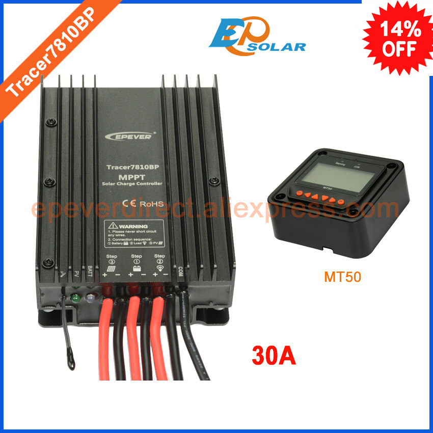 Great price!New product solar controller tracer7810BP 30A 30amp with MT50 remote meter EPsolar 12v 24v auto work regulator epsolar solar regulator 30a 12v 24v with remote meter mt50 solar charge controller 50v ls3024b