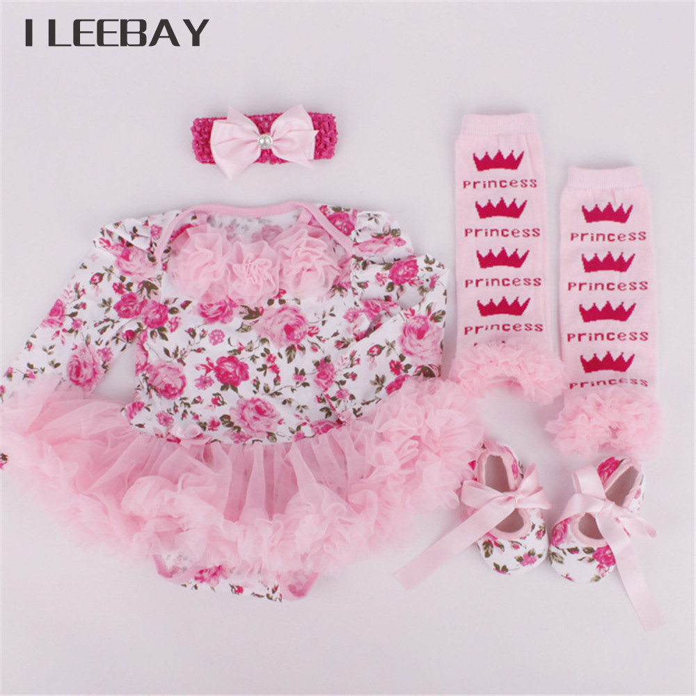 Christmas Newborn Baby Girl Clothing Romper 4pcs Set Infant Tutu Dress Girls Birthday Costume Romper+Stocks+Headband+Shoes Suits платье для девочек baby girl clothes 2015 baby baby girls clothes