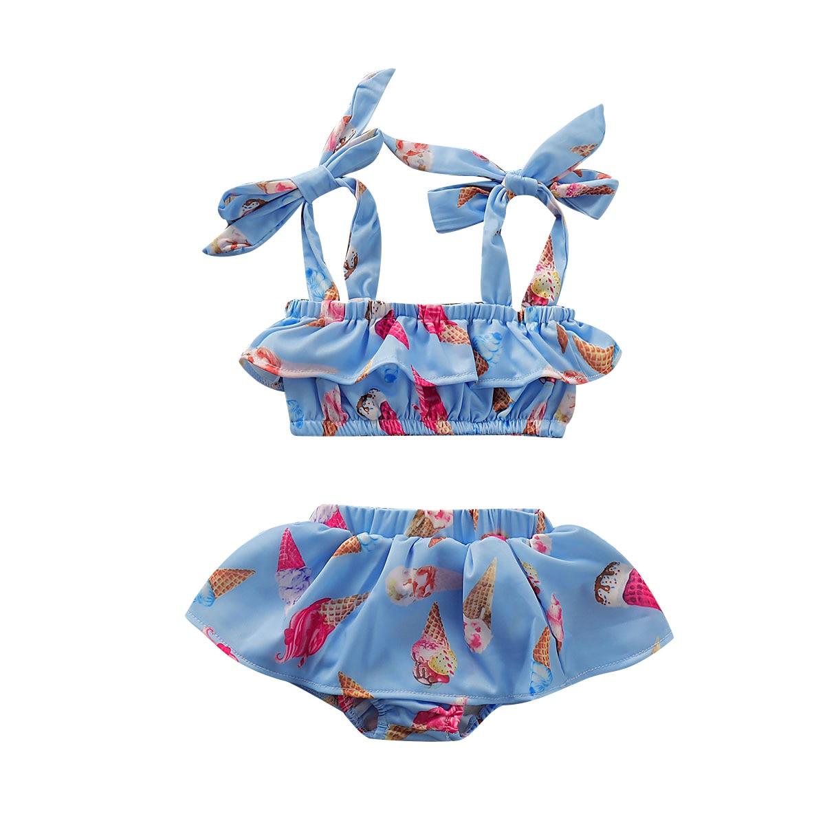 1-5y 2 Pezzi Di Estate Dei Capretti Del Bambino Della Ragazza Delle Increspature Bikini Set Ice Cream Stampa Costumi Da Bagno Costume Da Bagno Costume Da Bagno