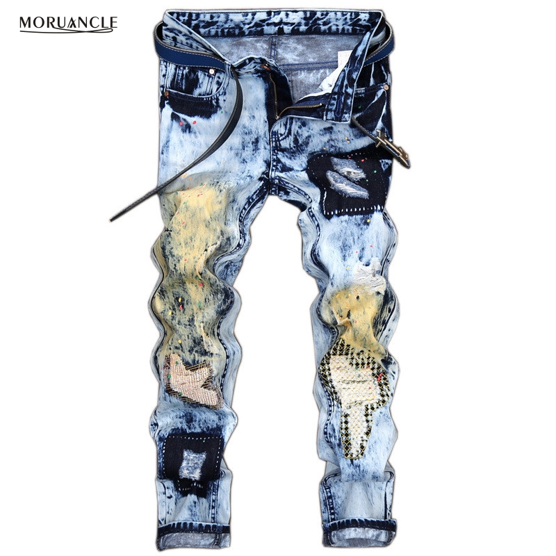 ФОТО MORUANCLE Designer Mens Ripped Patchwork Jeans Joggers Fashion Male Blue Denim Pants Printed Distressed Stone Washed Trousers
