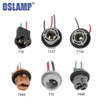 Oslamp 2 sztuk T10 1156 1157 7440 7443 żarówka do przedniego reflektora uchwyt rozszerzenie przewód do samochodu halogenowe gniazdo adaptera złącze lampy tanie i dobre opinie Universal Srebrny-Powlekany Drut Miedziany Universally