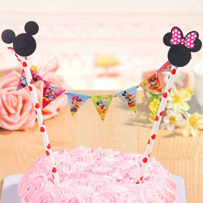 Straw String Banner Happy Birthday Micky Minne Mouse Cake Topper ...