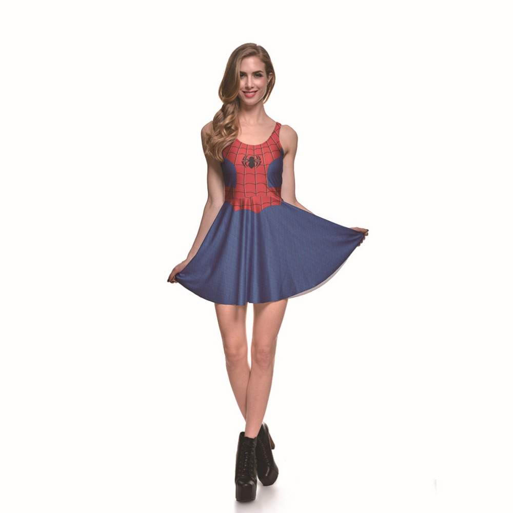 Female Spiderman Dresses Costumes summer European and American Halloween Sailor Moon Cosplay Anime Costume Umbrella Skirt