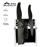 Middia 4pcs Black Bade Ceramic Knife Set With Block Kitchen Cutters Paring Knife Utility Knife Peeler