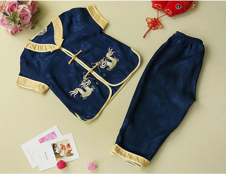 Traditional Chinese Clothing For Kids Summer Satin Yellow Navy Blue Dragon Tang Suits Boys Performance Outfit On Children's Day