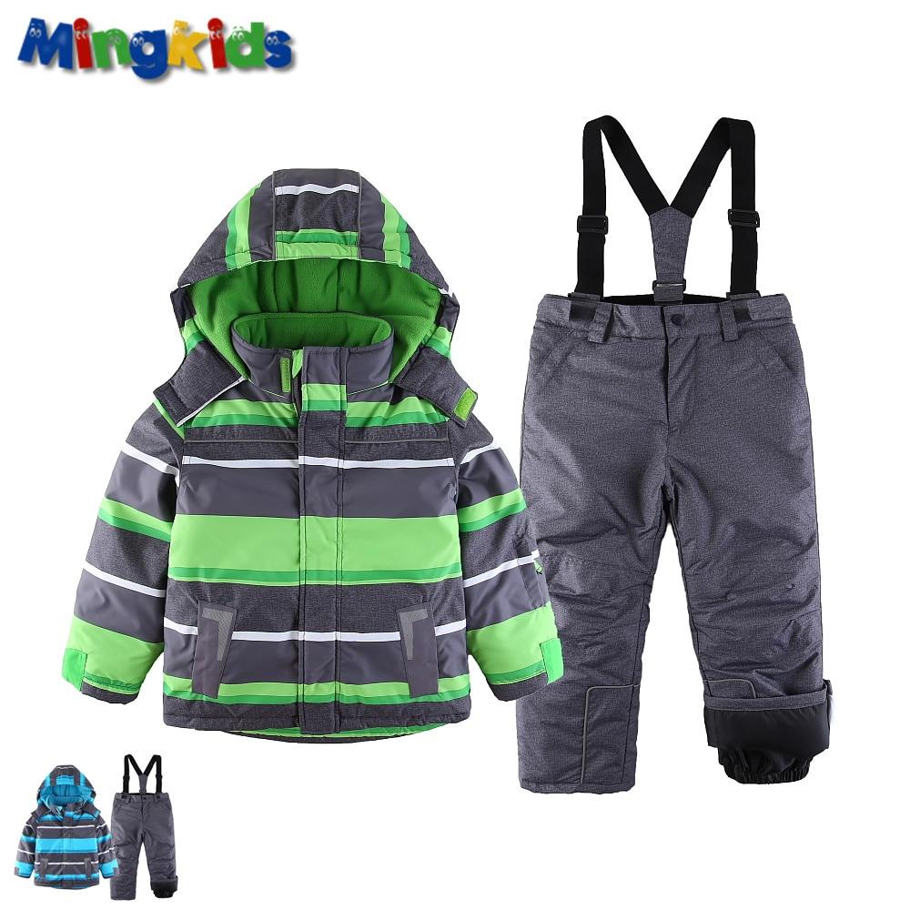 Mingkids Snowsuit toddler Boy Ski set Outdoor Winter Warm Snow Suit hooded waterproof windproof padded