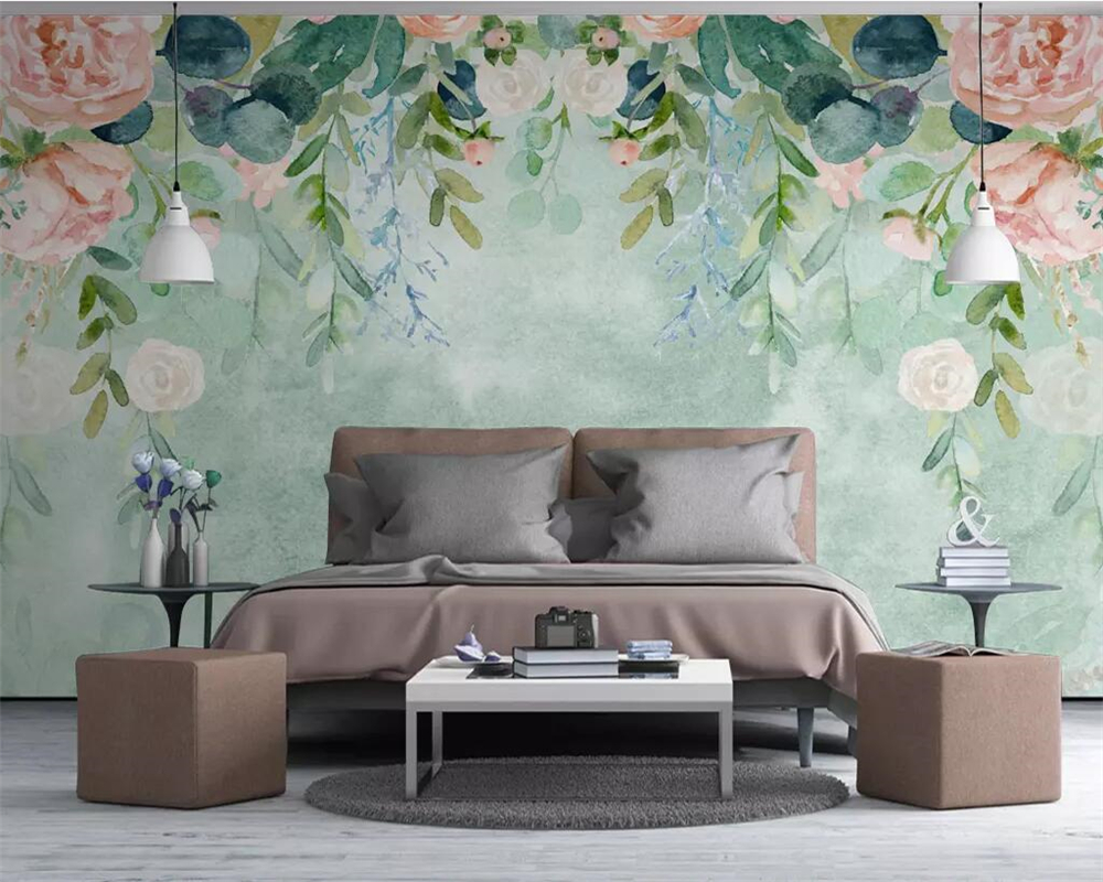 Beibehang Custom Wallpaper Nordic Small Fresh Hand-painted Watercolor Cartoon Flowers Pastoral Mural TV Background 3d Wallpaper