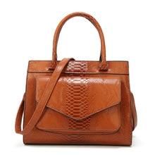 Women PU Leather Snake Skin Handbag Women Messenger Bag Fashion PU Leather Shoulder Bags Women Bags Designer Pattern Tote Bag