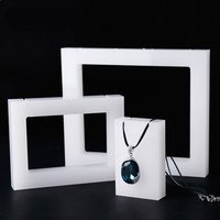 White Milk White Acrylic Necklace Display Holder Pendant Display Stand 3 pcs a set Pendant display series