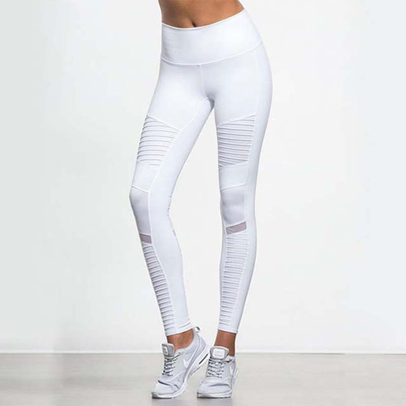 Women Elastic waistband Yoga pants with Mesh Panels High Waisted Moto Leggings White Sport Yoga Leggings active wide leg stretch waistband pants with stitching design in blue