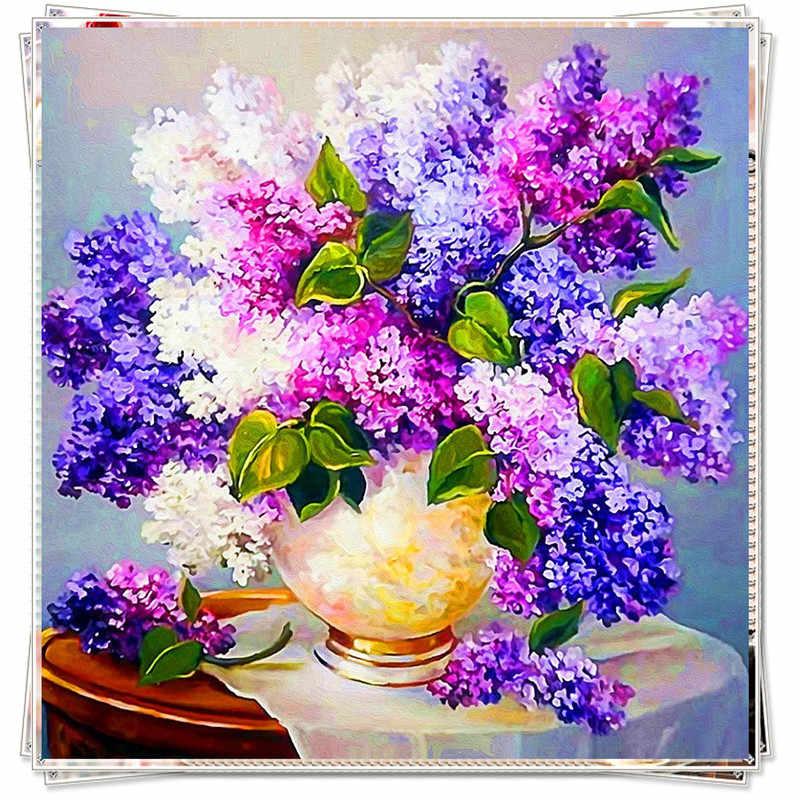 Diy diamant schilderij bloem volledige boor kruissteek kristal vierkante diamant sets onvoltooide decoratieve borduurwerk lila bloem