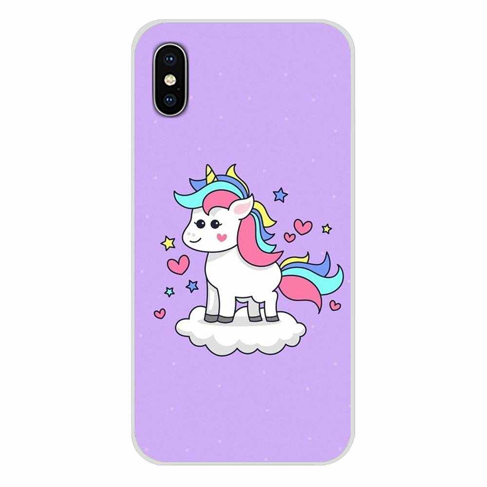Yumuşak Çanta Case At Unicorn Üzerinde Gökkuşağı PC Pürüzsüz Huawei G7 G8 P7 P8 P9 P10 P20 P30 Lite mini Pro P Akıllı Plus 2017 2018 2019