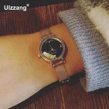 Mini Control de Línea Pequeña Ultra Thin Rose Oro Plata Aleación de Relojes de pulsera de Cuarzo Reloj de pulsera para Mujeres Niñas