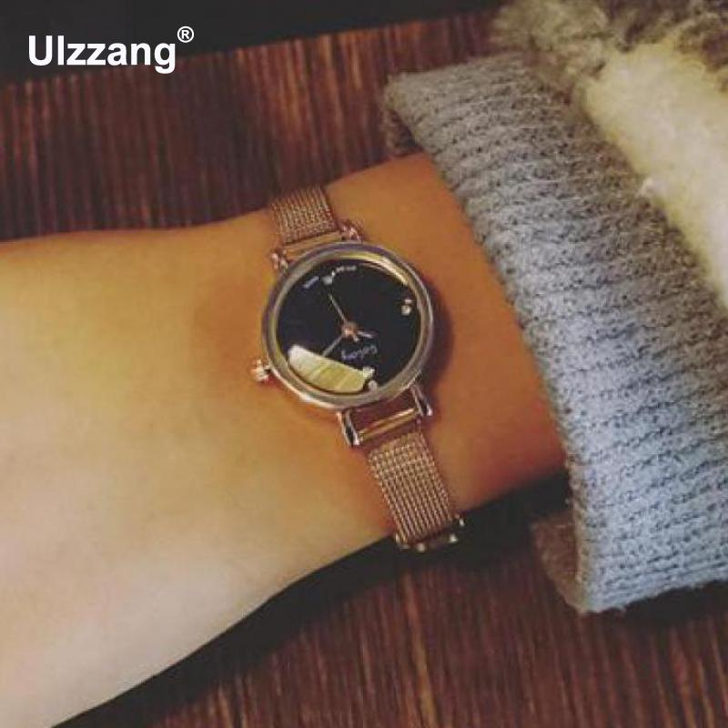 Mini Dial Small Dial Ultra Thin Rose Gold Silver Alloy Quartz Wristwatches Wrist Watch For Women Girls