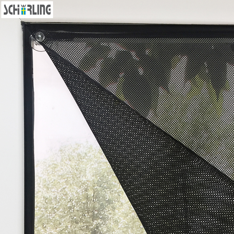 Customized Size Sunshade Window Roll Blind Mesh Fabric With Sucker Black Color Car Shade With