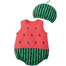 Cute Baby Clothes Cartoon Baby Boy Girl Rompers Cotton Animal And Fruit Pattern Infant Jumpsuit + Hat Set Newborn Baby Costumes(China)