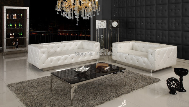 Italy Genuine Leather Sofa Set European Style Elegant Luxury Classical With  Crystal Pearl And Stainless Steel