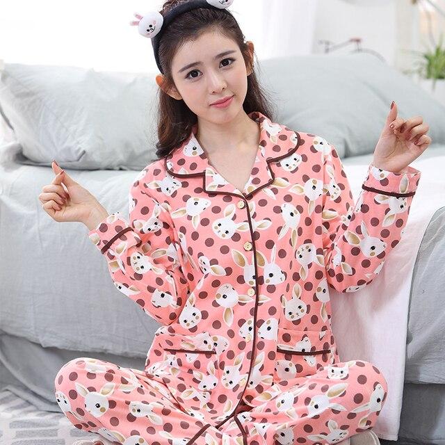 ff18f0490a2ef Mignon lapin pyjamas ensembles avec vert et rose couleur belle imprimé  printemps automne lone-manches
