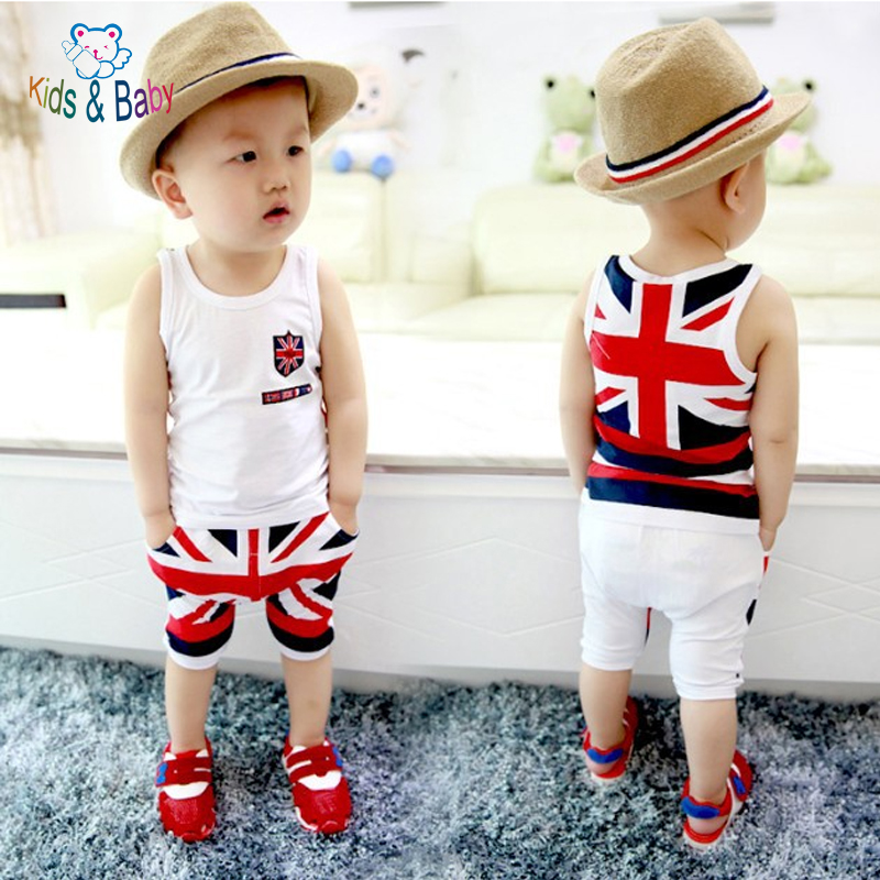 Baby&Kids 2016 Fashion Cotton Baby Boy Clothes Newborn Infant Sleeveless National Flag Printed Vest Pants Clothing Set Bebes