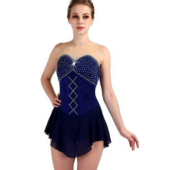 Figure Skating Dress Women Sleeveless Elasticity Diamond Costume Ice Skating Dresses For Girls Performance Wear Custom ZH8018