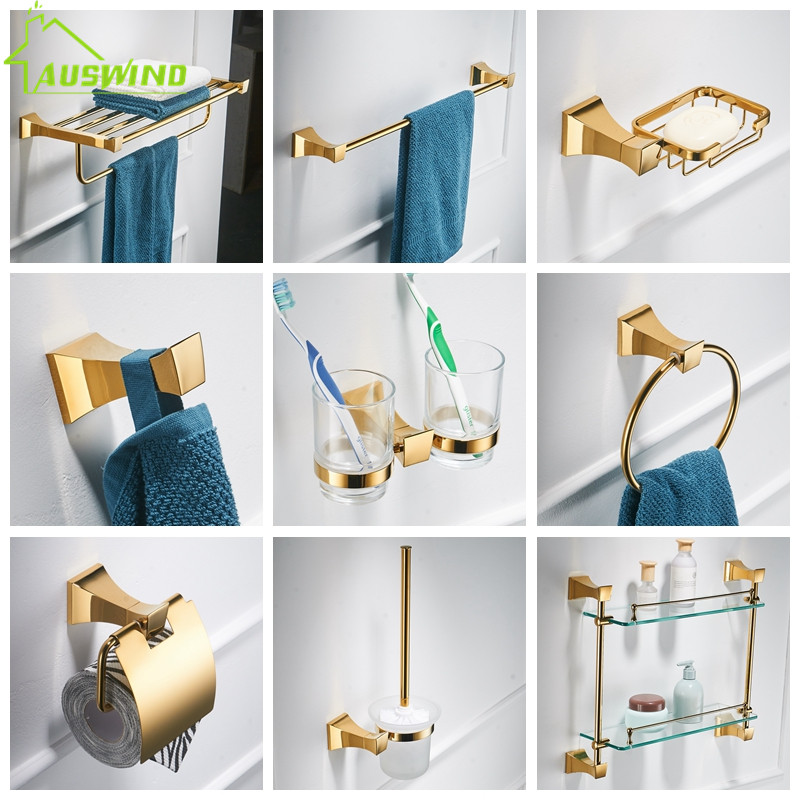 Bathroom Hardware Set Wall Mounted Glass Shelf 2 Layer Gold Bathroom Accessories Brass Toothbrush Holder Towel Paper Holder image
