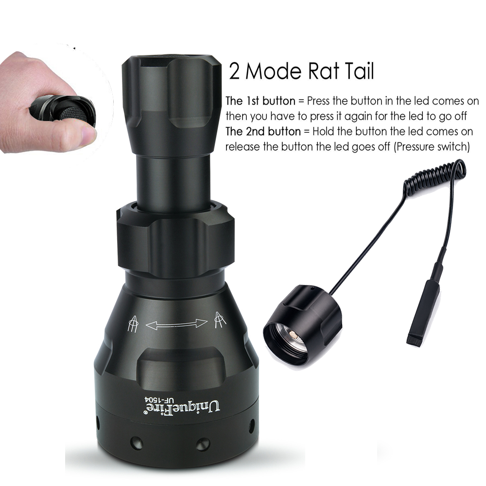 Lampe de poche UF UniqueFire 1504 Cree XML/XM-L2 Lumens élevés torche LED 5 Modes Lampe de lentille de mise au point réglable + queue de Rat