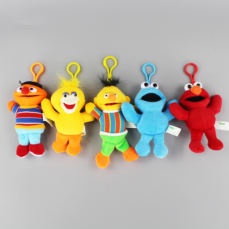 13CM Sesame Street Elmo Cookie Big Bird Ernie Bert Plush Keychain Toys Stuffed Dolls