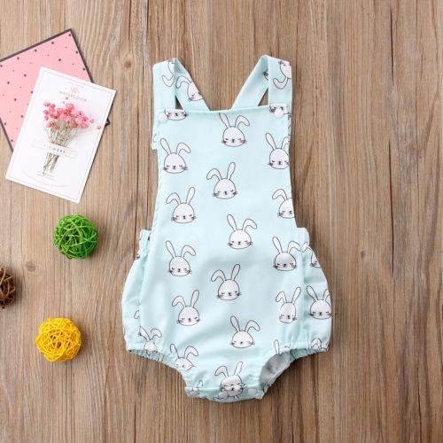 Cute Newborn Infant kids Baby Boys Girls Sleeveless Rompe Jumpsuit Rabbit Criss-Cross Romper Outfit Sunsuit Summer