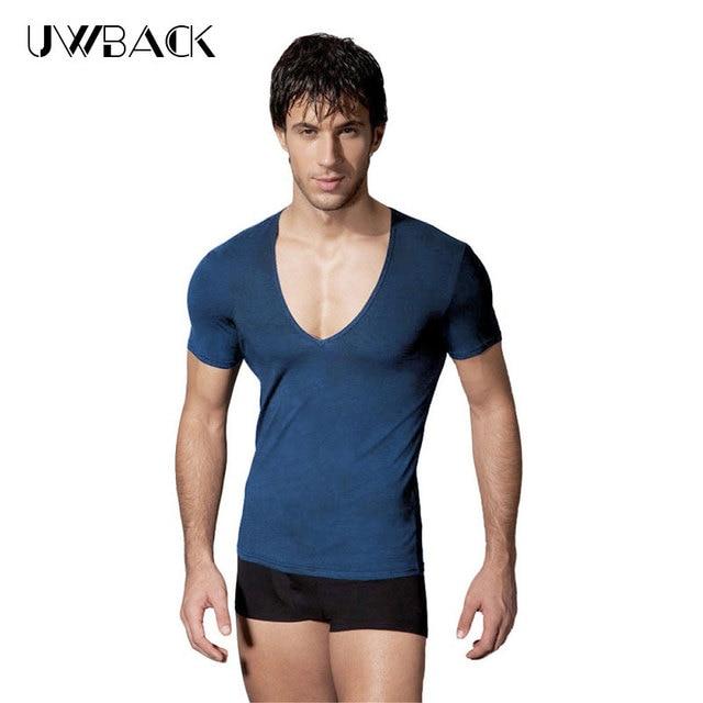 d0af5316ed6b Uwback 2018 Summer Men's T Shirts Deep V Line Elasticity T Shirt Man Cotton  White/Black Comfort Top Slim Fitness Cool Tees XA623