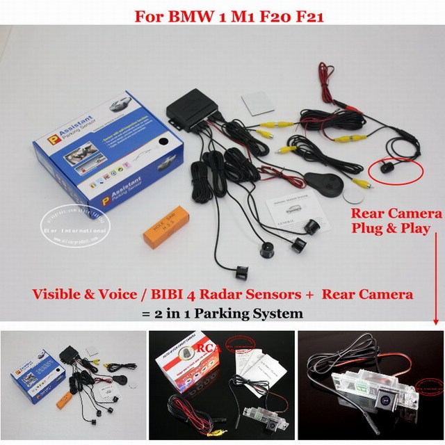 For BMW 1 M1 F20 F21 - Car Parking Sensors + Rear View Back Up Camera = 2 in 1 Visual / BIBI Alarm Parking System