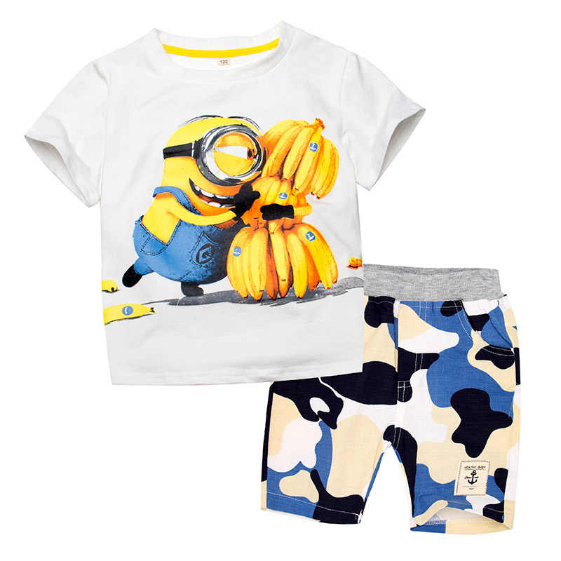 35f9a2c9 Toddler Boys Clothing Clothes Set Minions Cartoon T-Shirt Shorts Children  Camouflage Kid Sport Suit