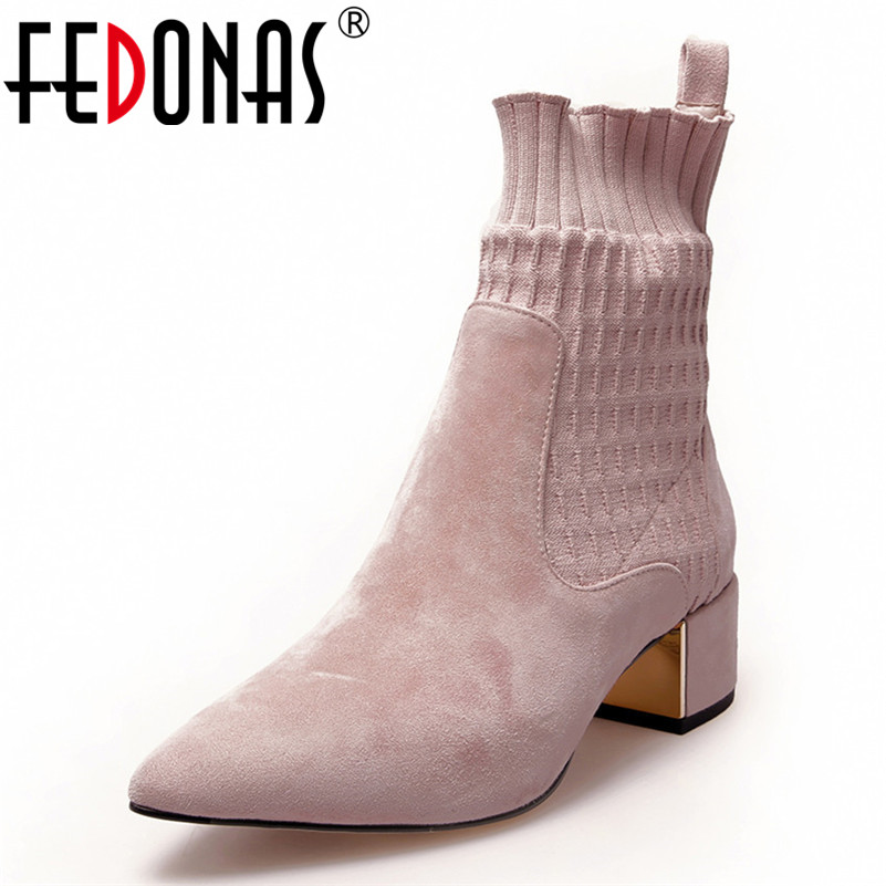 FEDONAS Brand Women Ankle Boots High Heels Stretch Boots Pointed Toe Wedding Party Shoes Woman Sexy Ladies New Autumn Boots brand new open toe ankle boots ladies shoes sexy slingbacks high heels platform shoes women boots spring autumn free shipping page 10